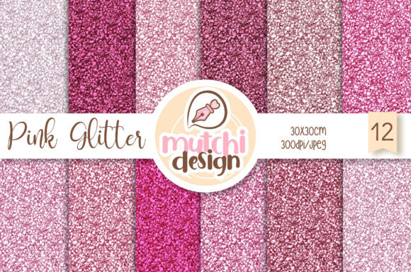 Print on Demand: Pink Glitter Backgrounds Graphic Backgrounds By Mutchi Design