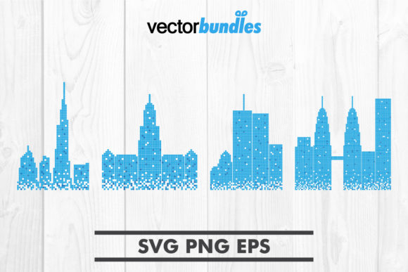 Print on Demand: Pixelated Skyscraper Clip Art Graphic Crafts By vectorbundles