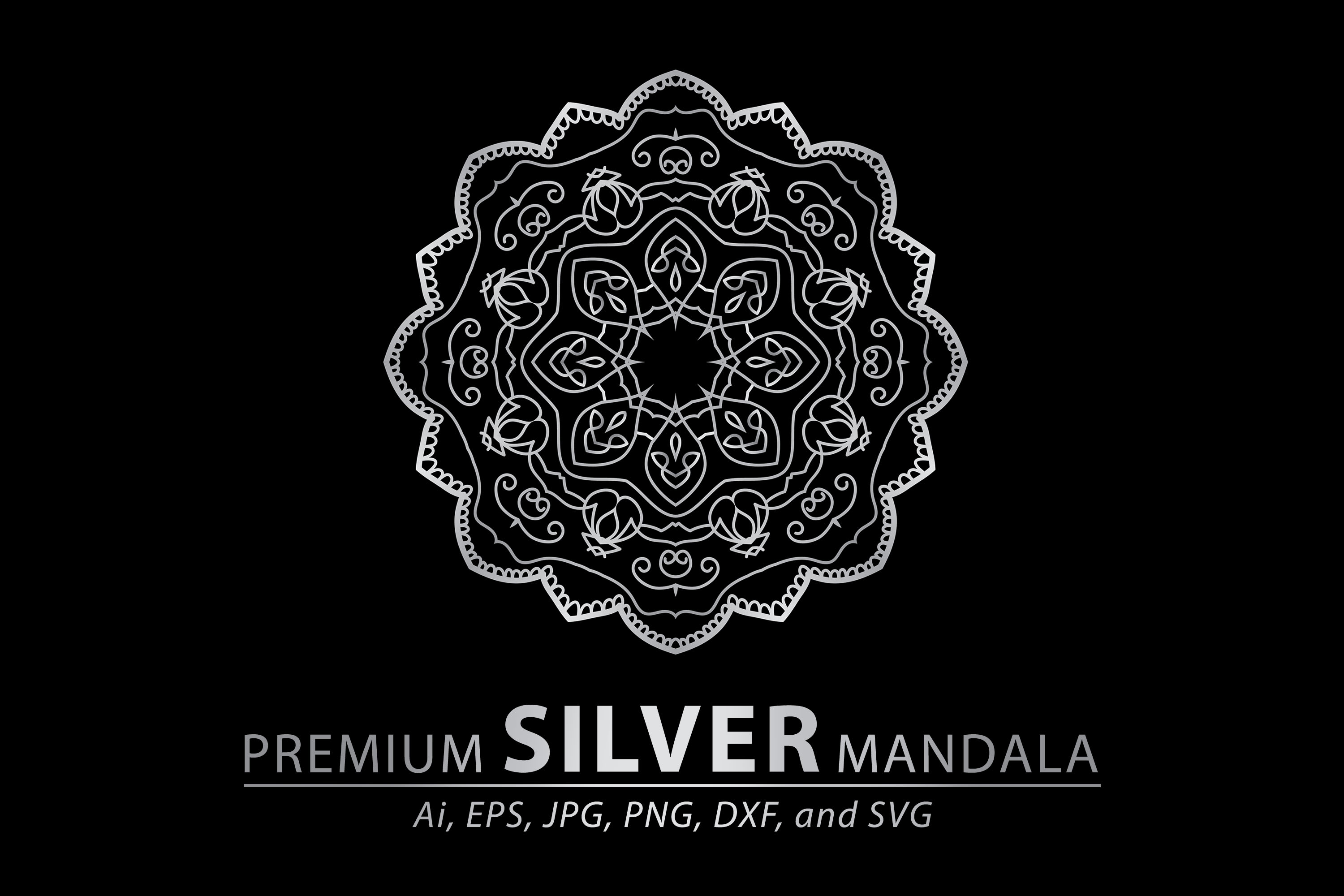 Download Free Premium Silver Mandala Vector Pattern Graphic By Redsugardesign Creative Fabrica for Cricut Explore, Silhouette and other cutting machines.