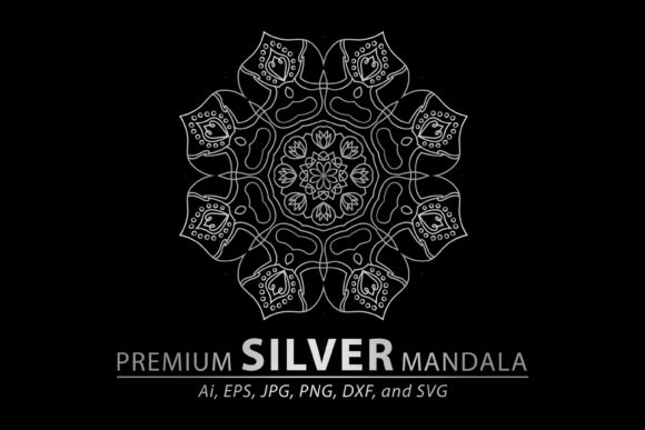 Download Free Premium Silver Mandala Vector Pattern Graphic By Redsugardesign for Cricut Explore, Silhouette and other cutting machines.