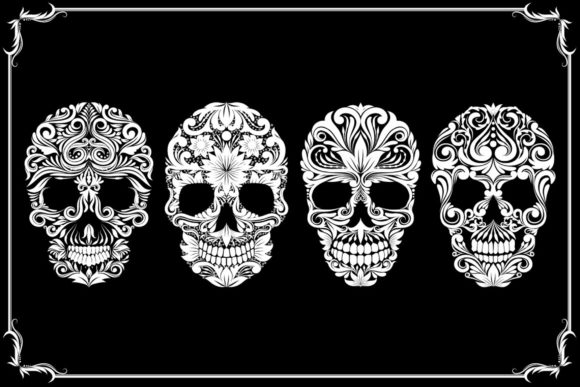 Skull Ornament Collections Graphic Illustrations By Alit Design