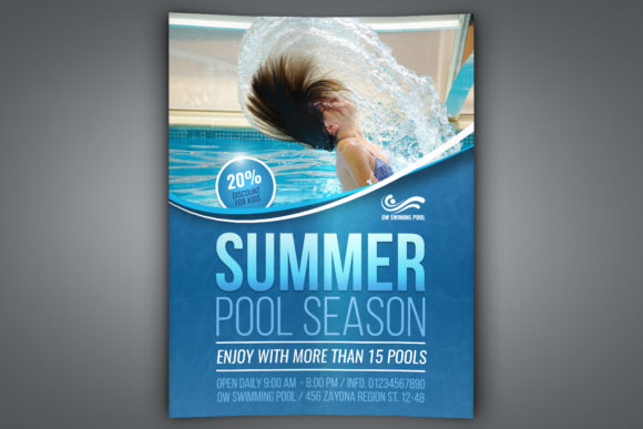 Download Free Swimming Pool Flyer Template Graphic By Owpictures Creative for Cricut Explore, Silhouette and other cutting machines.