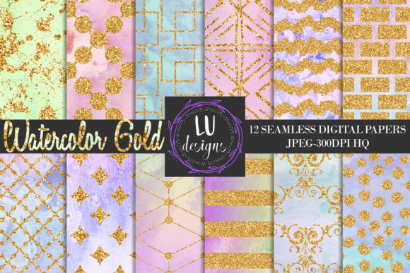 Watercolor Gold Unicorn Backgrounds Graphic Backgrounds By Lu Designs