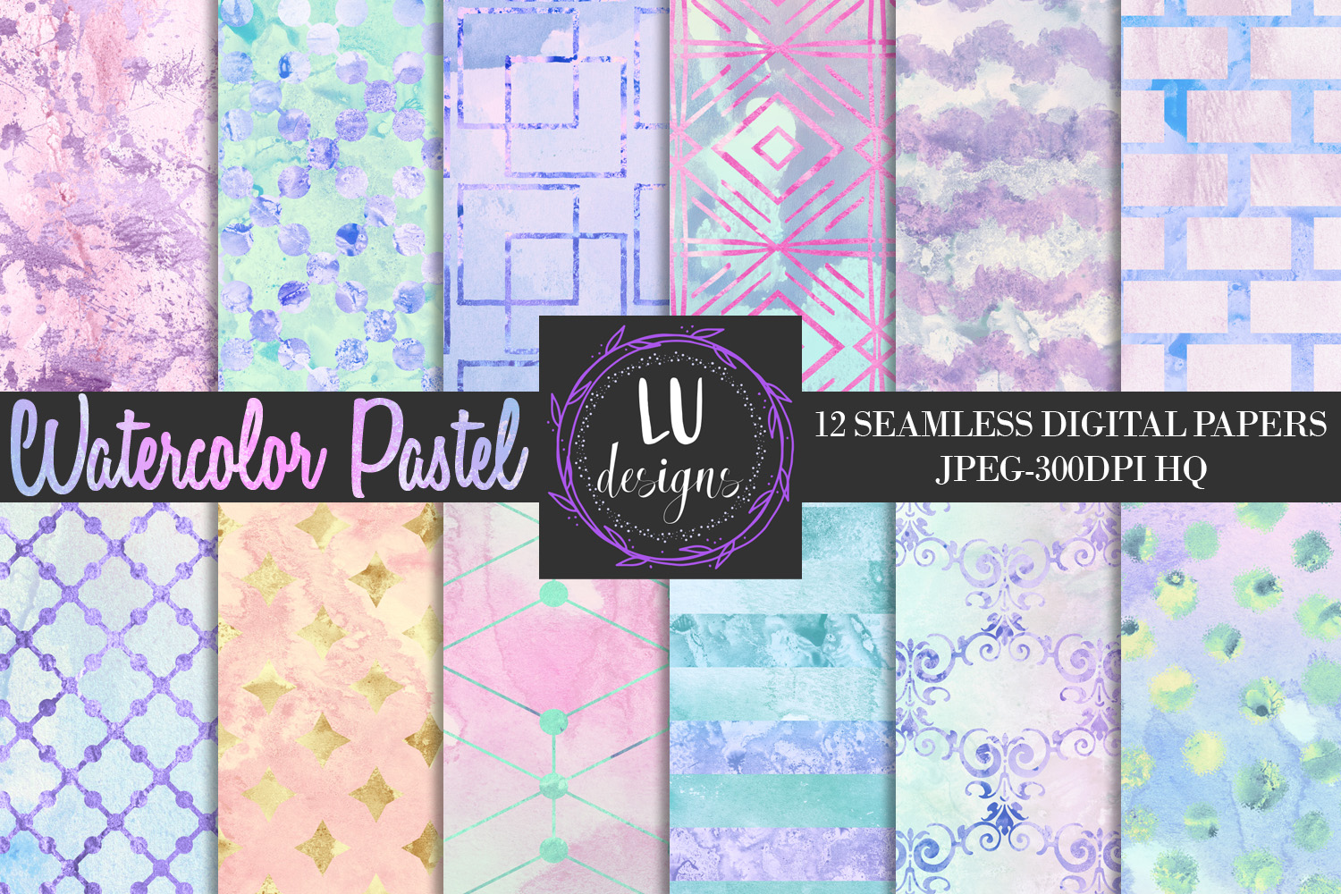 Download Free Watercolor Pastel Digital Papers Texture Graphic By Lu Designs for Cricut Explore, Silhouette and other cutting machines.
