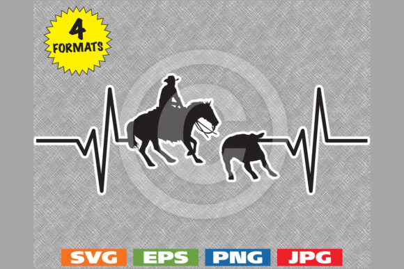 Western Cutting Horse Heartbeat Graphic Graphic Illustrations By iDrawSilhouettes