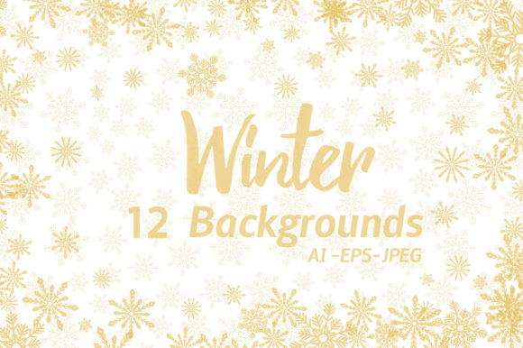 Print on Demand: Winter Golden Backgrounds Graphic Backgrounds By elionorik