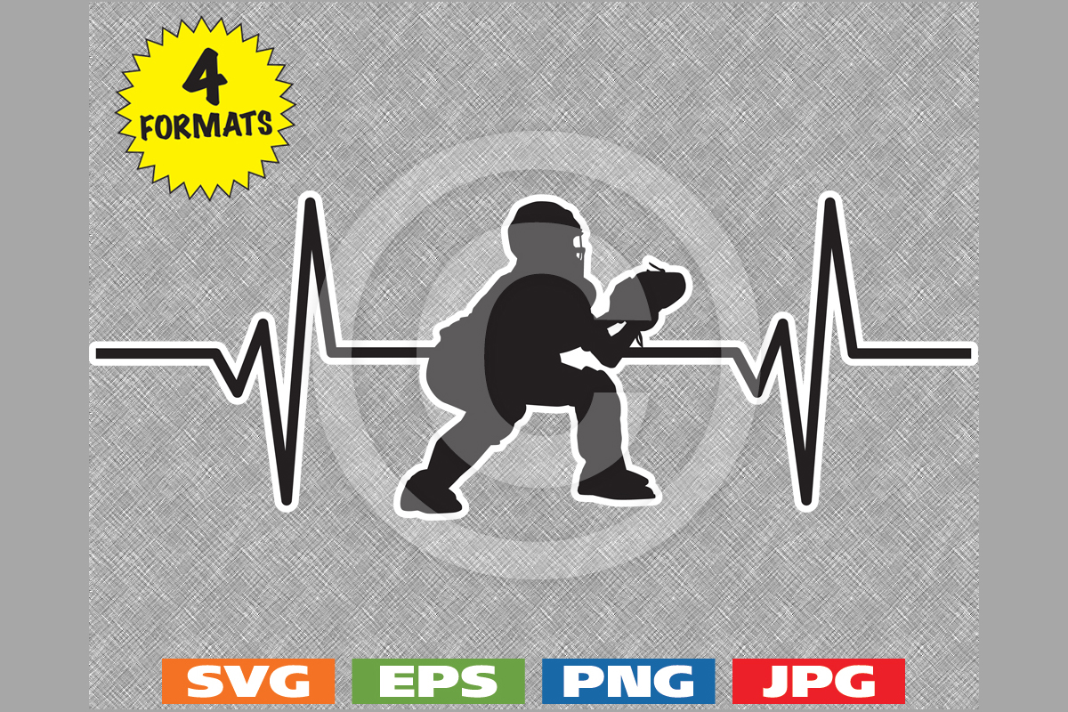Download Free Youth Baseball Catcher Heartbeat Graphic Grafico Por for Cricut Explore, Silhouette and other cutting machines.