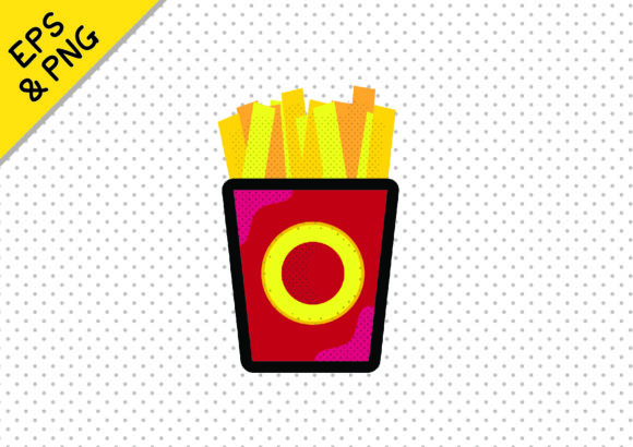 Print on Demand: Fun Fast Food Icon Graphic Fries Chips Graphic Icons By GraphicsBam Fonts
