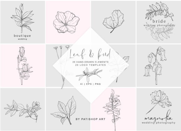 Download Free Hand Drawn Botanical Logos Elements Graphic By Patishop Art for Cricut Explore, Silhouette and other cutting machines.