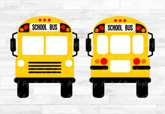Print on Demand: School Bus Front and Back Graphic Icons By PrintsOfPop
