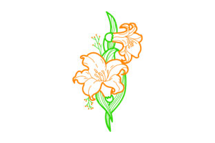 Orange Flowers Embellishment Outline Spring Craft Cut File By Creative Fabrica Crafts