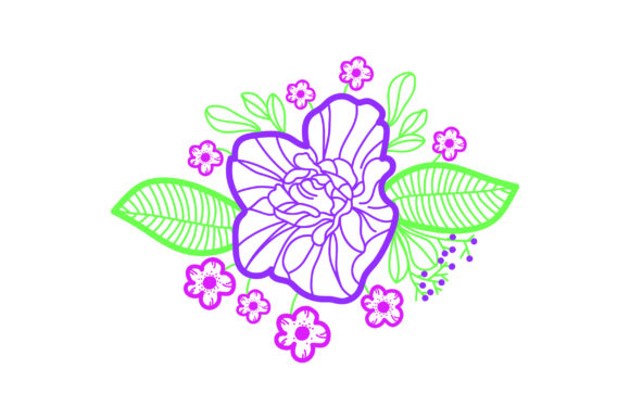 Purple Flowers Embellishment Outline Spring Craft Cut File By Creative Fabrica Crafts