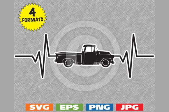 Download Free 1957 Antique Classic Truck Heartbeat Graphic By Idrawsilhouettes for Cricut Explore, Silhouette and other cutting machines.