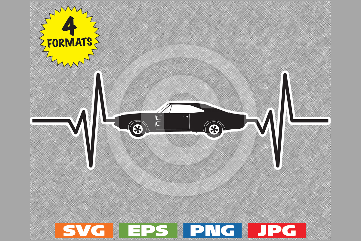 Download Free 1968 Classic Muscle Car Heartbeat Graphic By Idrawsilhouettes for Cricut Explore, Silhouette and other cutting machines.