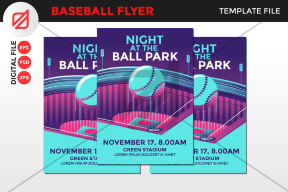 Print on Demand: Baseball Flyer Template V5 Graphic Graphic Templates By illusatrian