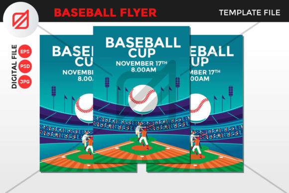 Print on Demand: Baseball Flyer Template V7 Graphic Graphic Templates By illusatrian