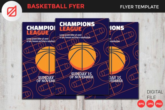 Print on Demand: Basketball Flyer Template V2 Graphic Graphic Templates By illusatrian