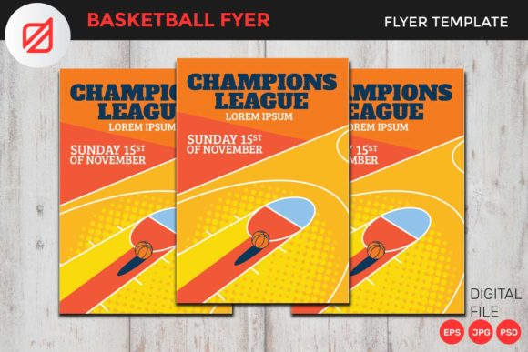 Print on Demand: Basketball Flyer Template V5 Graphic Graphic Templates By illusatrian