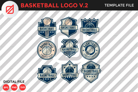 Download Free Basketball Logo Template V 2 Graphic By Illusatrian Creative for Cricut Explore, Silhouette and other cutting machines.