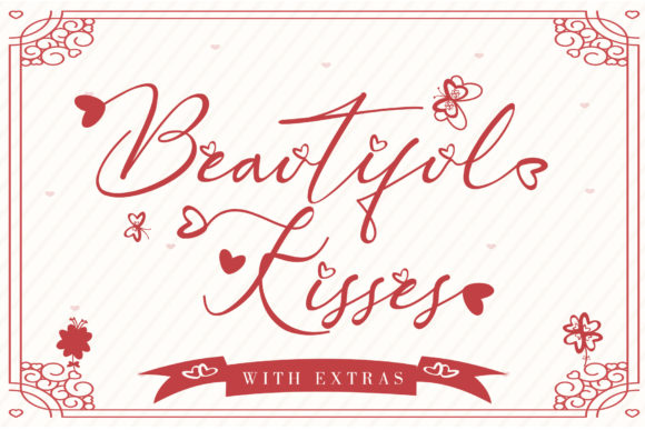 Print on Demand: Beautiful Kisses Script & Handwritten Font By thomasaradea