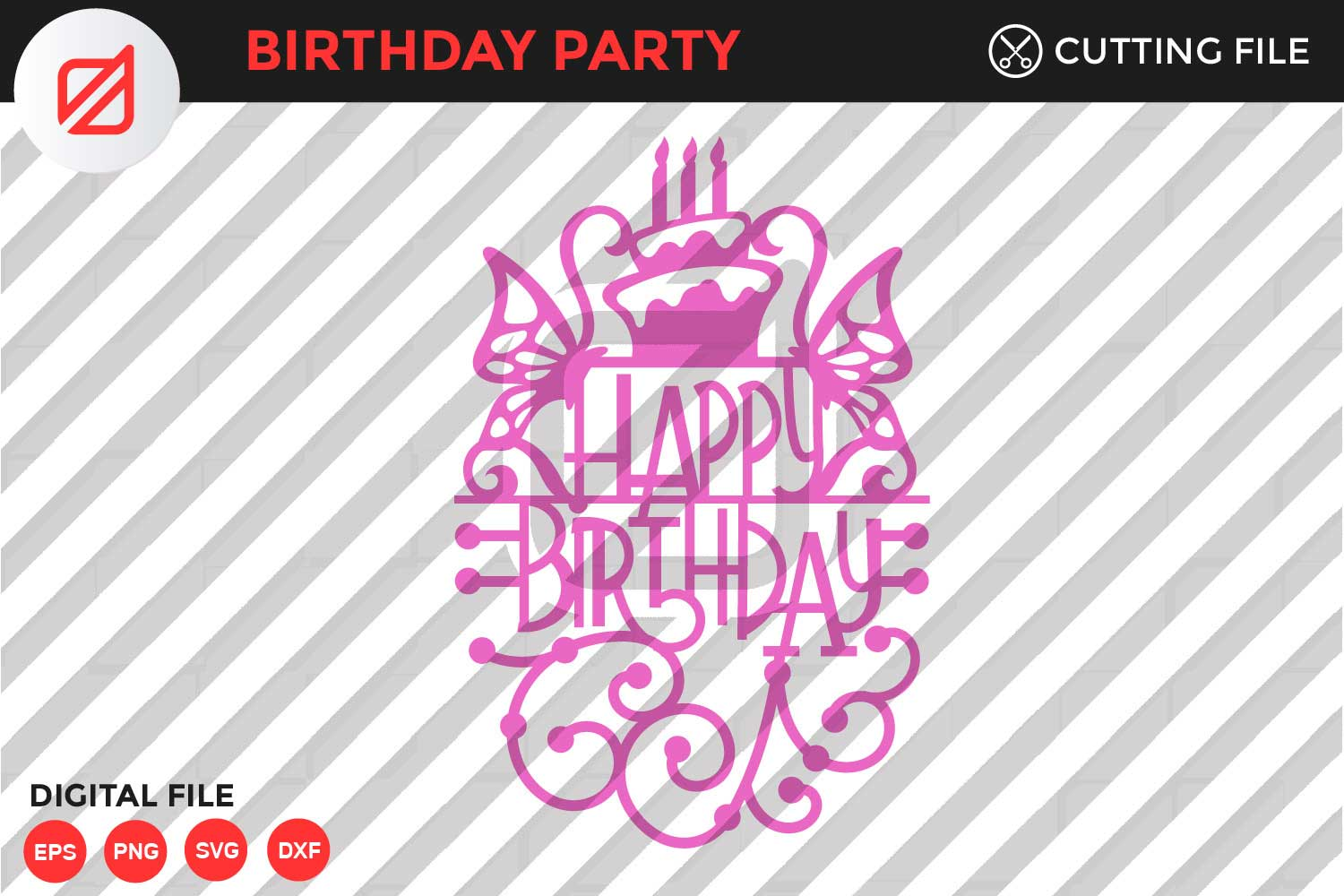 Download Free Birthday Party Cutting File V1 Graphic By Illusatrian Creative for Cricut Explore, Silhouette and other cutting machines.