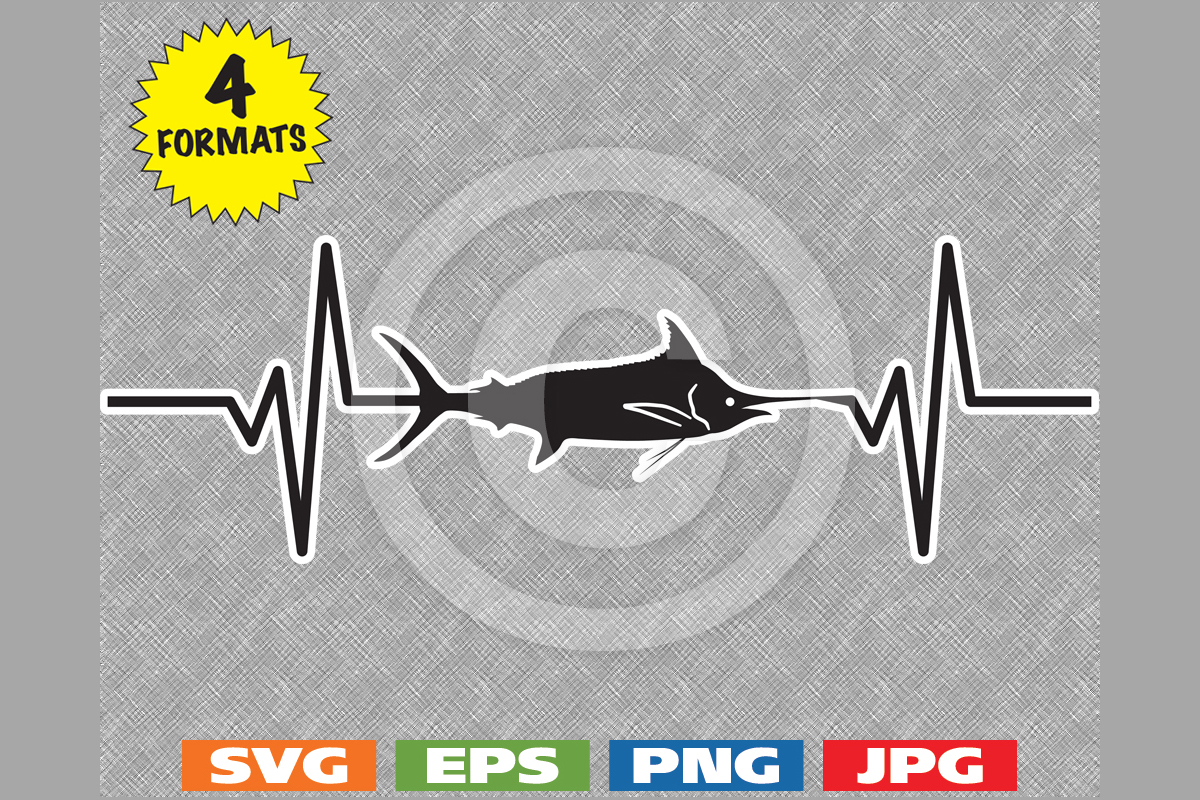 Download Free Blue Marlin Fish Fishing Heartbeat Graphic By Idrawsilhouettes for Cricut Explore, Silhouette and other cutting machines.