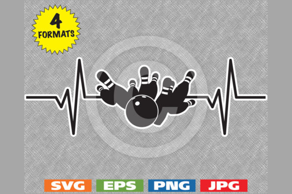 Download Free Bowling Strike Heartbeat Graphic By Idrawsilhouettes Creative for Cricut Explore, Silhouette and other cutting machines.