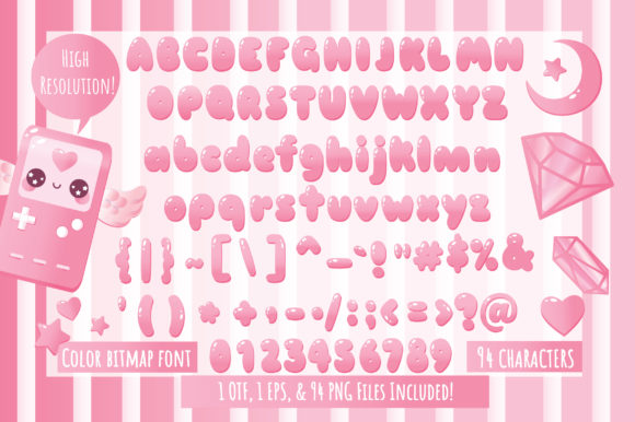 Print on Demand: Cheery Pink Dreams Color Fonts Font By JM_Graphics - Image 4