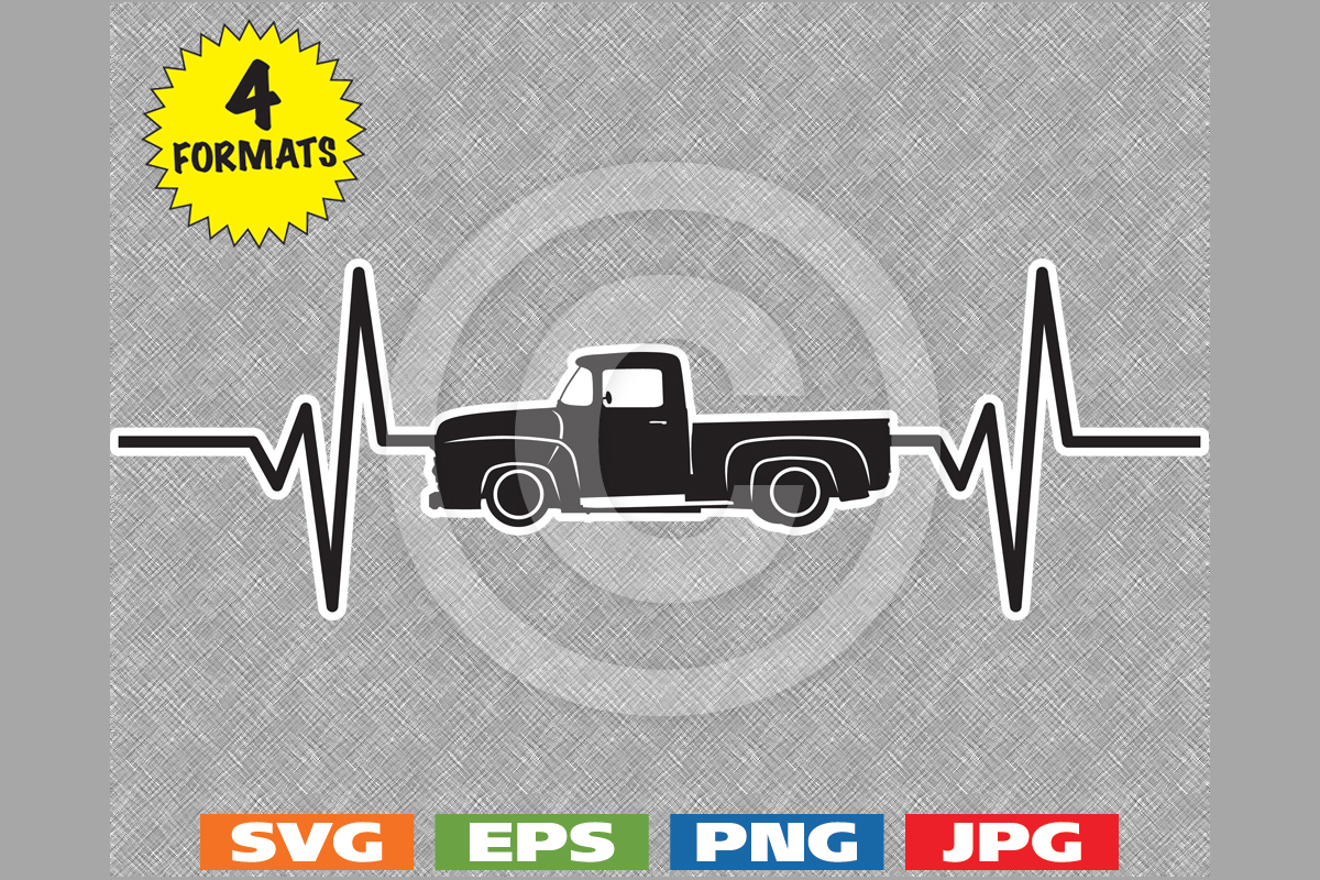 Download Free Classic 1956 Pickup Heartbeat Graphic By Idrawsilhouettes for Cricut Explore, Silhouette and other cutting machines.