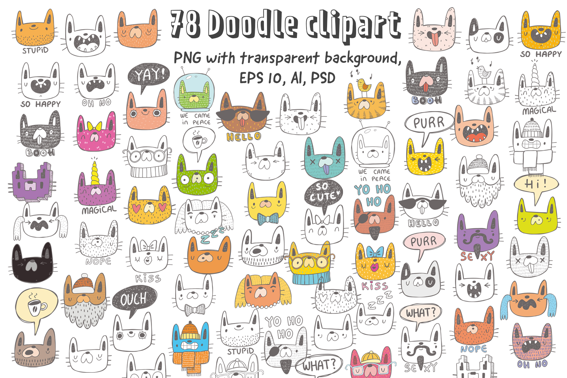 Download Free Collection Of Doodle Cats Graphic By Architekt At Creative Fabrica for Cricut Explore, Silhouette and other cutting machines.