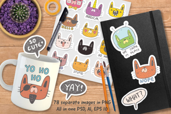 Print on Demand: Collection of Doodle Cats Graphic Illustrations By Architekt_AT - Image 2