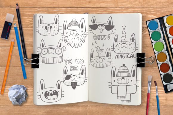 Print on Demand: Collection of Doodle Cats Graphic Illustrations By Architekt_AT - Image 4