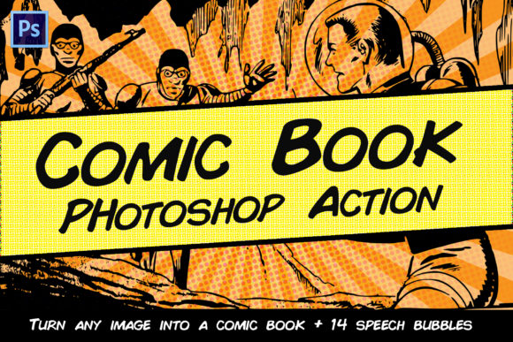 Print on Demand: Comic Book Photoshop Action Graphic Actions & Presets By denestudios