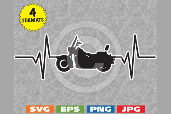 Download Free Cruiser Motorcycle Silhouette Heartbeat Graphic By for Cricut Explore, Silhouette and other cutting machines.