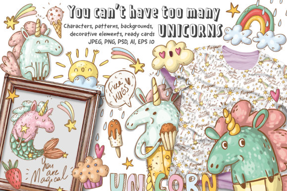 Print on Demand: Doodle Unicorns and Patterns Graphic Illustrations By Architekt_AT - Image 1