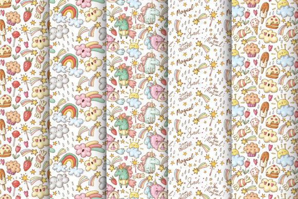 Print on Demand: Doodle Unicorns and Patterns Graphic Illustrations By Architekt_AT - Image 4