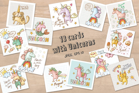 Print on Demand: Doodle Unicorns and Patterns Graphic Illustrations By Architekt_AT - Image 6
