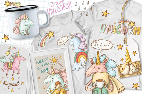 Print on Demand: Doodle Unicorns and Patterns Graphic Illustrations By Architekt_AT - Image 7