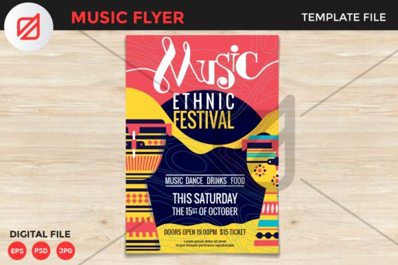 Download Free Ethnic Music Festival Flyer Template V1 Graphic By Illusatrian for Cricut Explore, Silhouette and other cutting machines.