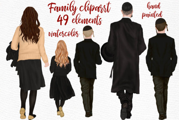 Download Free Family Clipart Jewish Family Graphic By Lecoqdesign Creative for Cricut Explore, Silhouette and other cutting machines.