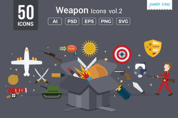 Print on Demand: Flat Icons Gaming Weapons Pack Graphic Icons By jumboicons