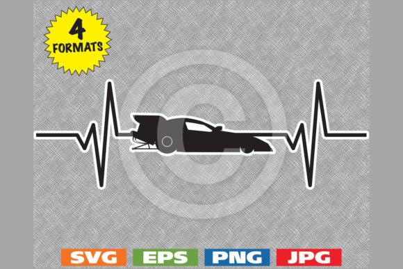 Download Free Funny Car Drag Racing Heartbeat Graphic By Idrawsilhouettes for Cricut Explore, Silhouette and other cutting machines.