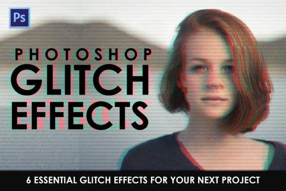 Print on Demand: Glitch Effect Photoshop Actions Graphic Actions & Presets By denestudios
