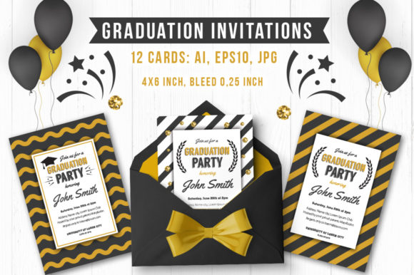 Graduate Party Collection Graphic Print Templates By Peliken