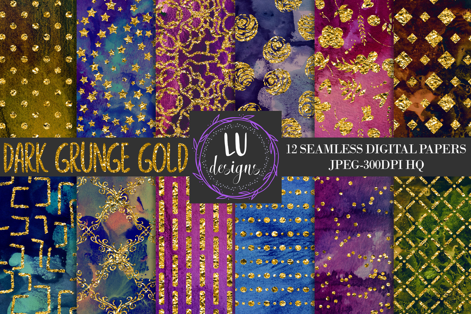 Download Free Grunge Gold Foil Digital Papers Textures Graphic By Lu Designs for Cricut Explore, Silhouette and other cutting machines.