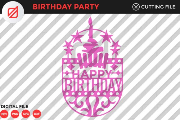 Print on Demand: Happy Birthday Cutting File V2 Graphic Crafts By illusatrian