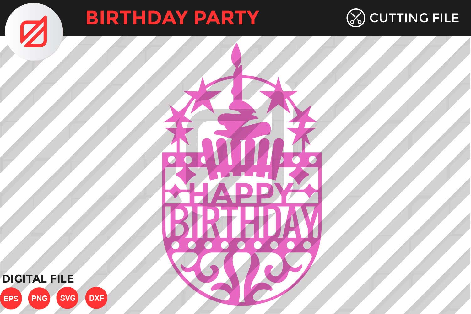 Download Free Happy Birthday Cutting File V2 Graphic By Illusatrian Creative for Cricut Explore, Silhouette and other cutting machines.
