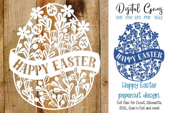 Download Free Happy Easter Egg Paper Cut Graphic By Digital Gems Creative for Cricut Explore, Silhouette and other cutting machines.