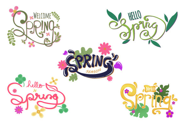Print on Demand: Hello Spring Lettering Typography Set Graphic Illustrations By iop_micro