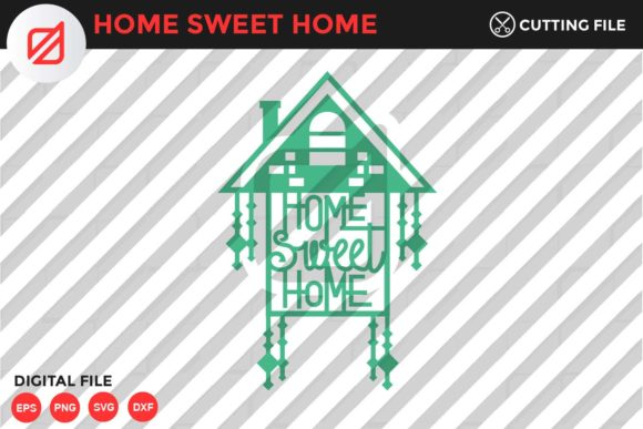 Print on Demand: Home Sweet Home Quote V6 Graphic Crafts By illusatrian